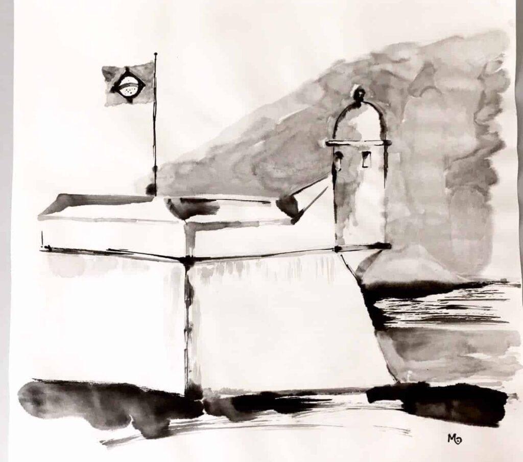Peinture de Mariana Calil, guide au Fort São João